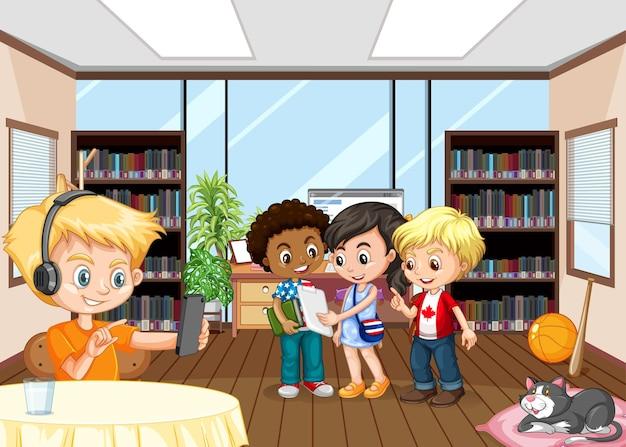Scène avec enfants dans la chambre avec bibliothèques