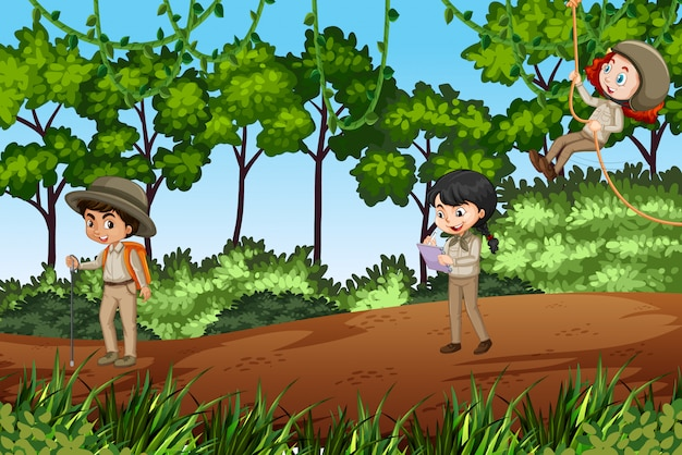Scène avec des enfants explorant la nature