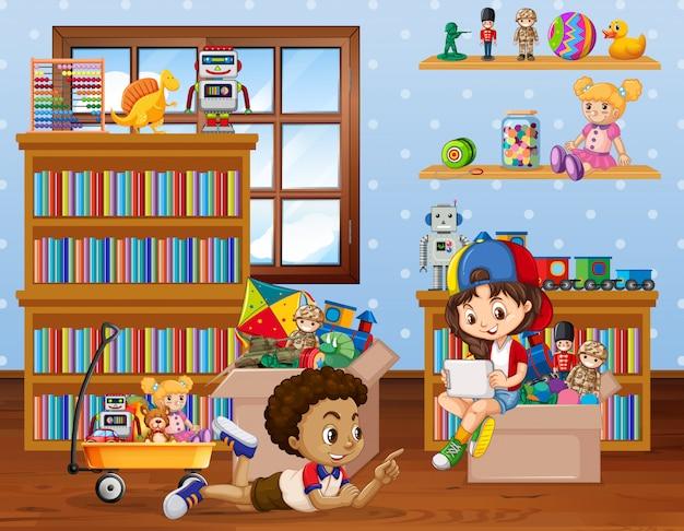 Scène avec des enfants jouant dans la chambre