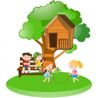 La scène des enfants avec une maison d'arbre