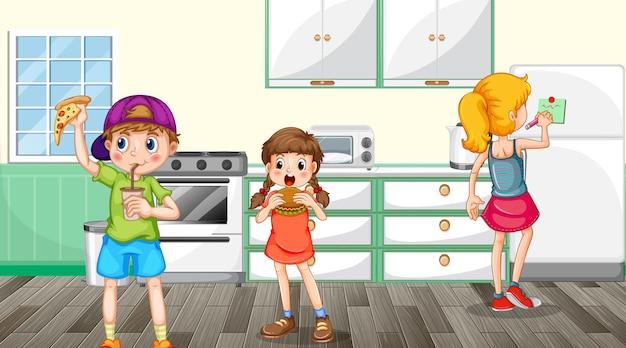 Scène avec des enfants mangeant dans la cuisine