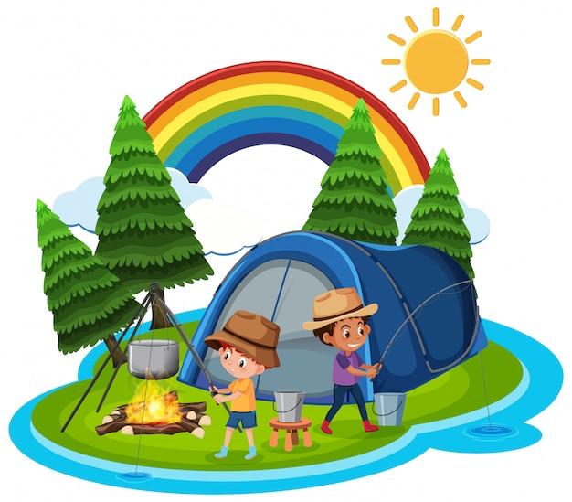 Scène avec des enfants pêchant et campant dans le parc