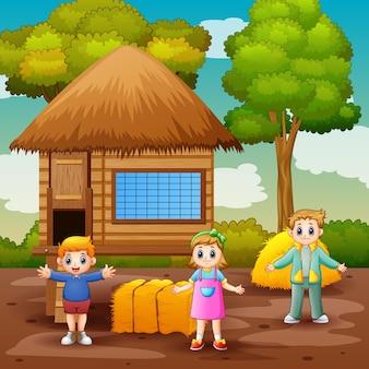 Scène avec enfants et poulailler illustration
