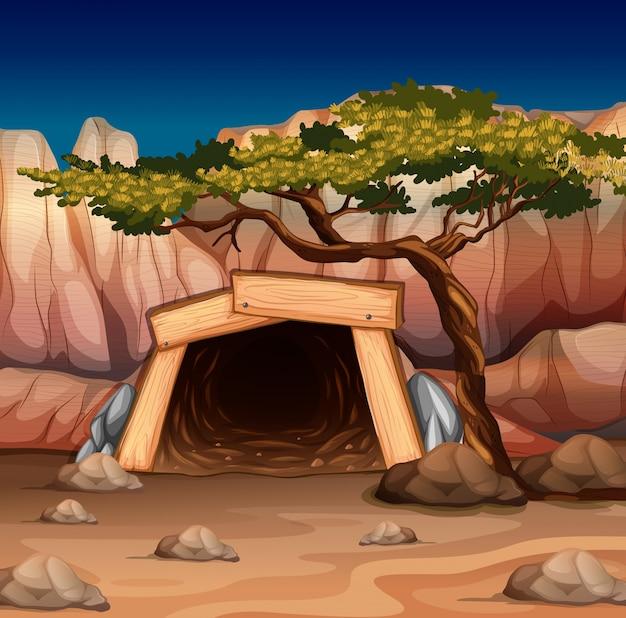 Scène avec l'entrée de la mine et l'illustration de l'arbre