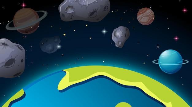 Scène de l'espace extra-atmosphérique avec des planètes et des astéroïdes