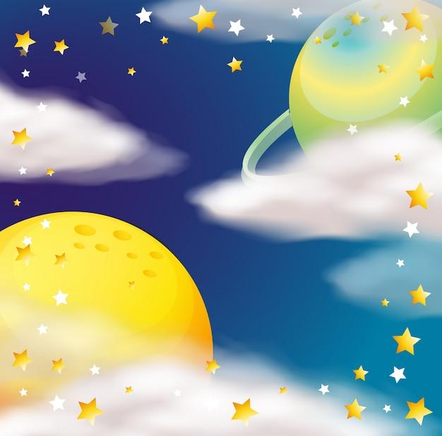Scène de l'espace avec les planètes et les étoiles