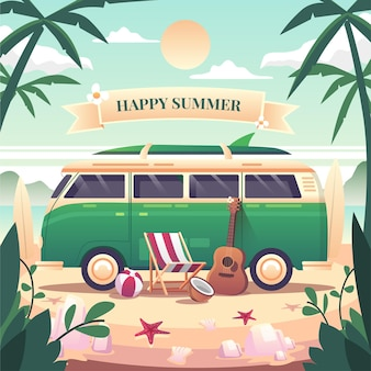 Scène d'été happy summer une camionnette verte garée à la plage lors d'une journée de détente il y a des chaises longues guitares ballons de plage planche de surf