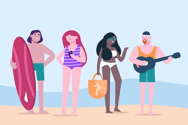 Scène d'été illustrée à plat avec des gens