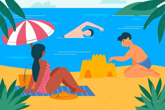 Scène d'été illustrée à plat avec plage