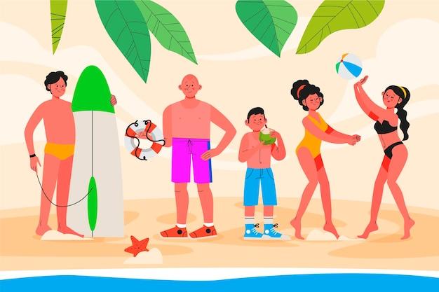 Scène d'été illustrée à plat