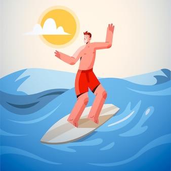 Scène d'été plate avec surfeur
