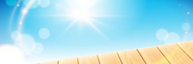Scène d'été avec table lumineuse en bois