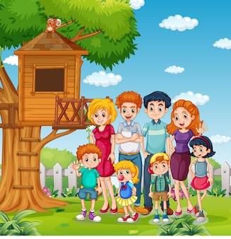 Scène extérieure du parc avec une famille heureuse