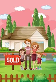 Scène extérieure avec famille debout devant une maison à vendre