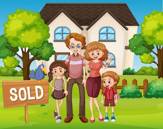 Scène extérieure avec la famille debout devant une maison à vendre