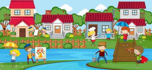 Scène extérieure avec de nombreux enfants jouant dans le parc