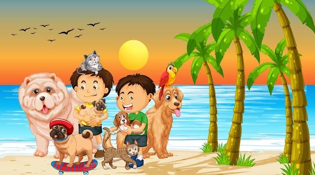 Scène extérieure de plage au coucher du soleil avec un groupe d'animaux et d'enfants