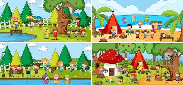 Scène extérieure sertie de nombreux enfants personnage de dessin animé doodle
