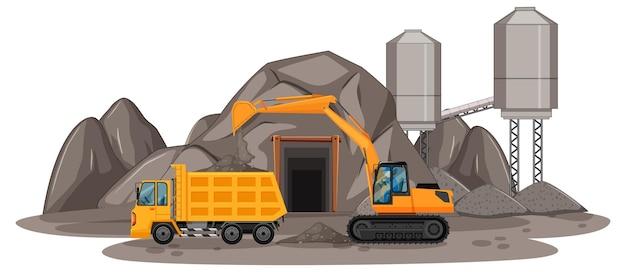 Scène d'extraction de charbon avec différents types de camions de construction
