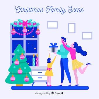 Scène de famille fond de noël