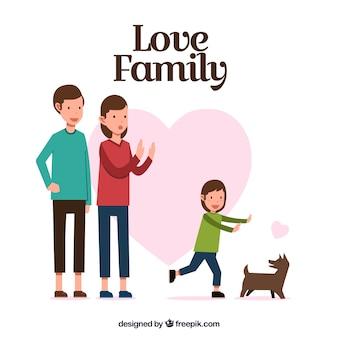 Scène fantastique famille de petite fille jouant avec le chien