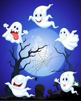 Scène avec fantôme d'halloween