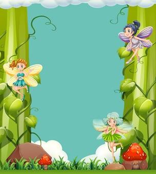 Scène avec des fées dans le jardin