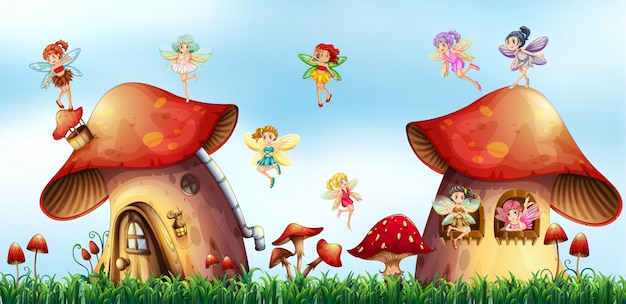 Scène avec des fées qui volent autour de maisons de champignons