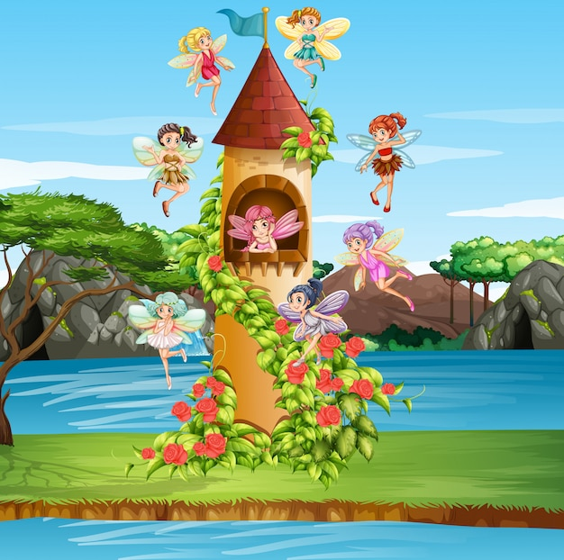 Scène avec des fées volant autour de la tour