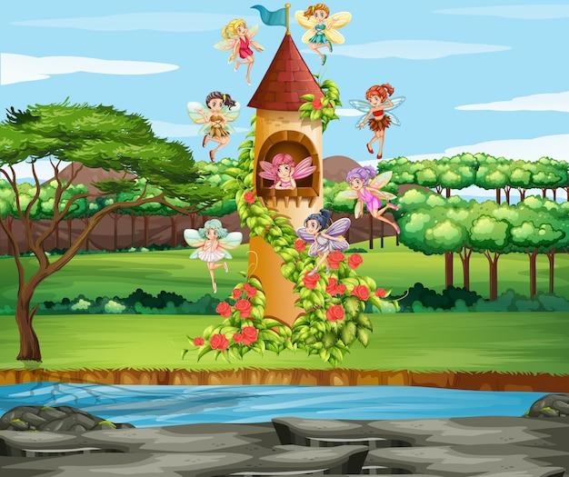 Scène avec des fées volant dans le jardin