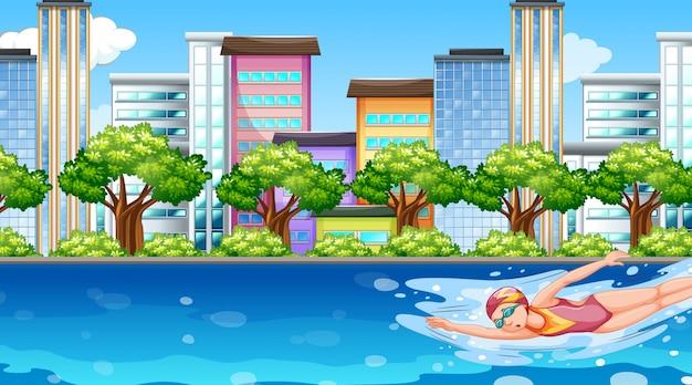 Scène avec femme nageant dans la rivière