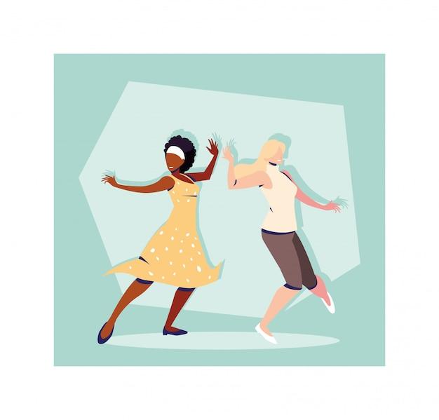 Scène de femmes en danse pose, fête, club de danse