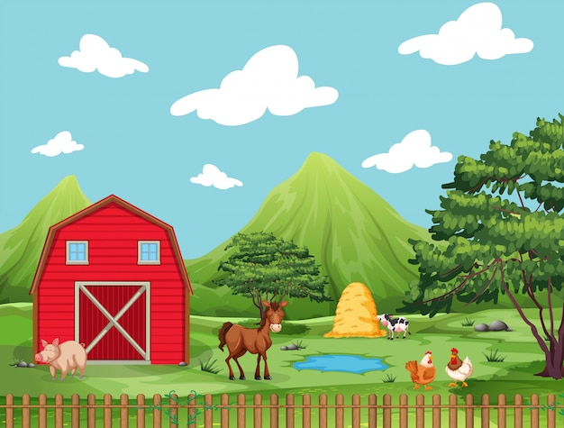 Scène de ferme avec cochon, cheval, poulets, étang, eau et vache avec pile de foin