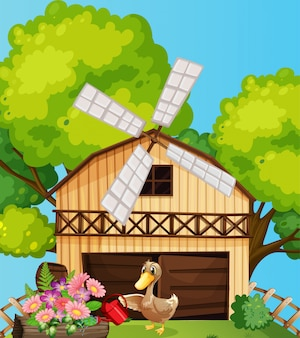 Scène de ferme dans la nature avec grange et canard arrosant des fleurs
