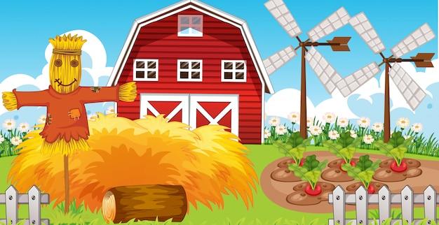 Scène de ferme dans la nature avec grange et moulin à vent et épouvantail