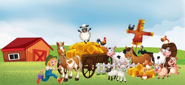 Scène de ferme dans la nature avec grange et véhicule tiré par des chevaux et ferme animale