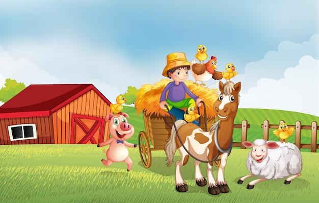 Scène de ferme dans la nature avec grange et véhicule tiré par des chevaux et ferme d'animaux