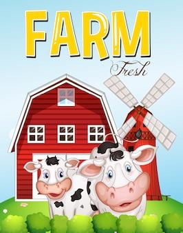 Scène de ferme avec deux vaches