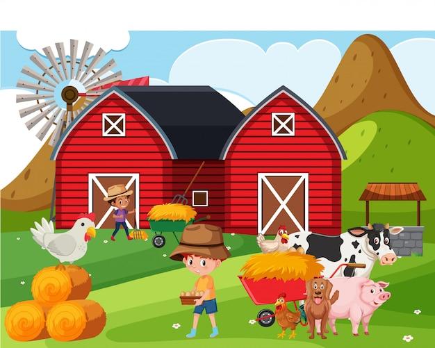 Scène de ferme avec des enfants et des animaux heureux à la ferme
