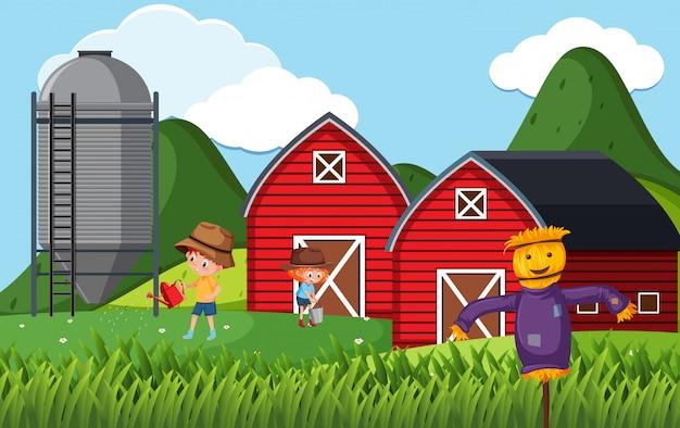 Scène de ferme avec des enfants travaillant à la ferme
