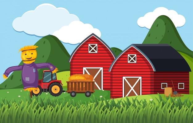 Scène de ferme avec épouvantail et tracteur près des granges