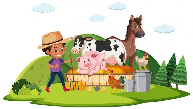 Scène de ferme avec farmboy et de nombreux animaux à la ferme