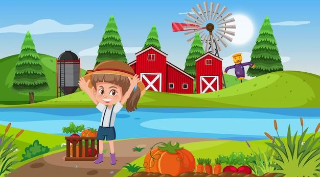 Scène de ferme avec fille et jardin potager