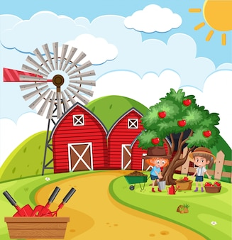Scène de ferme avec des filles cueillant des pommes à la ferme