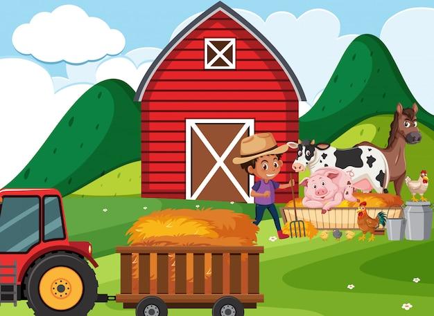 Scène de ferme avec garçon et animaux à la ferme