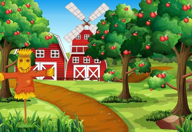 Scène de ferme avec grange rouge et moulin à vent