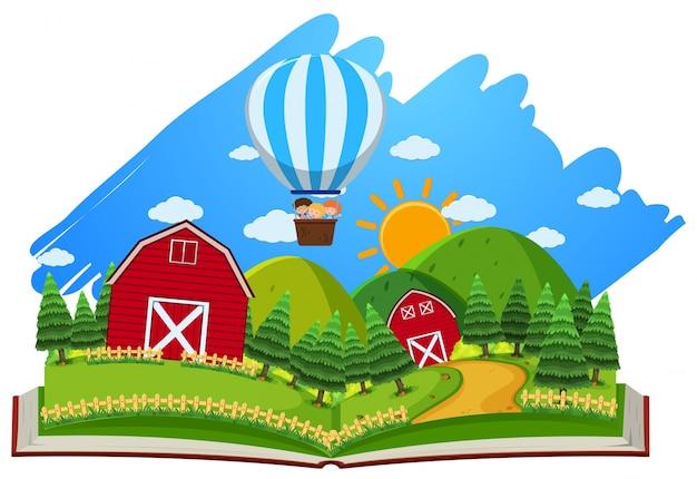 Scène de ferme avec des granges et un ballon dans le livre