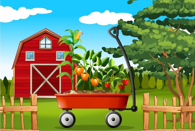 Scène de ferme avec des légumes sur wagon