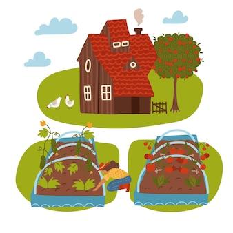 Scène de ferme avec maison de campagne, agricultrice, paysage rural d'été et lit de jardin. concept de jardinage et d'agriculture. illustration vectorielle plane de dessin animé