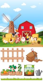 Scène de ferme avec de nombreux animaux et autres objets à la ferme
